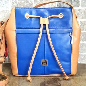 Aurielle Two Tone Bucket Style Leather Crossbody